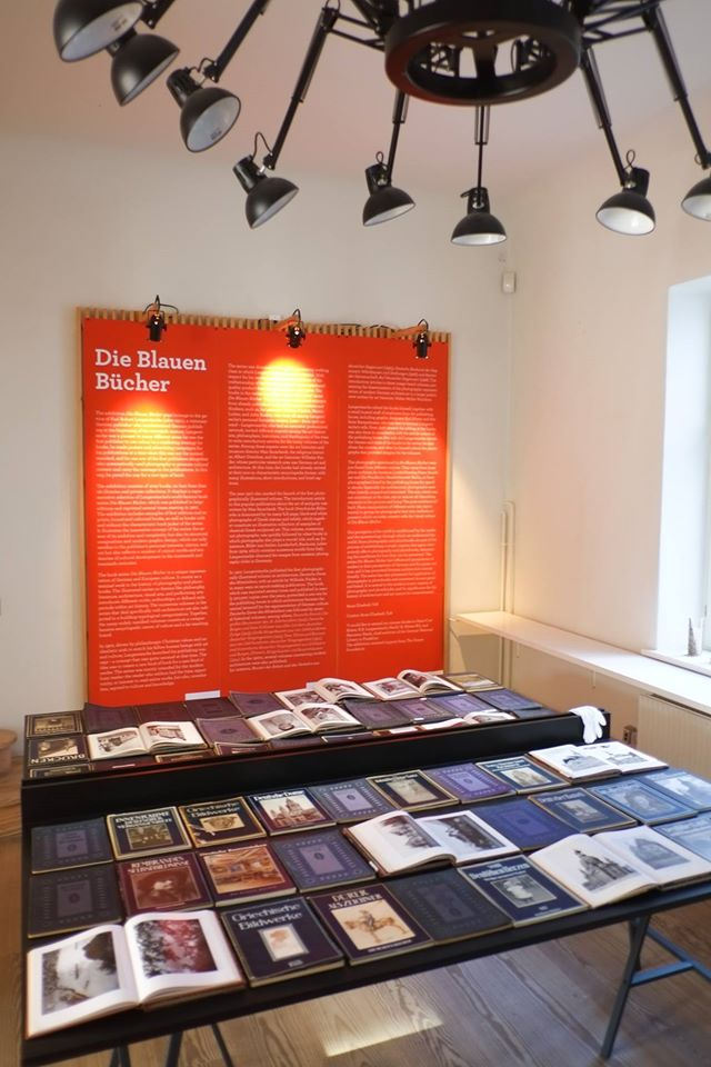 The exhibition 'Die Blauen Bücher', curated by Anne Elisabeth Toft, architect, PhD.
