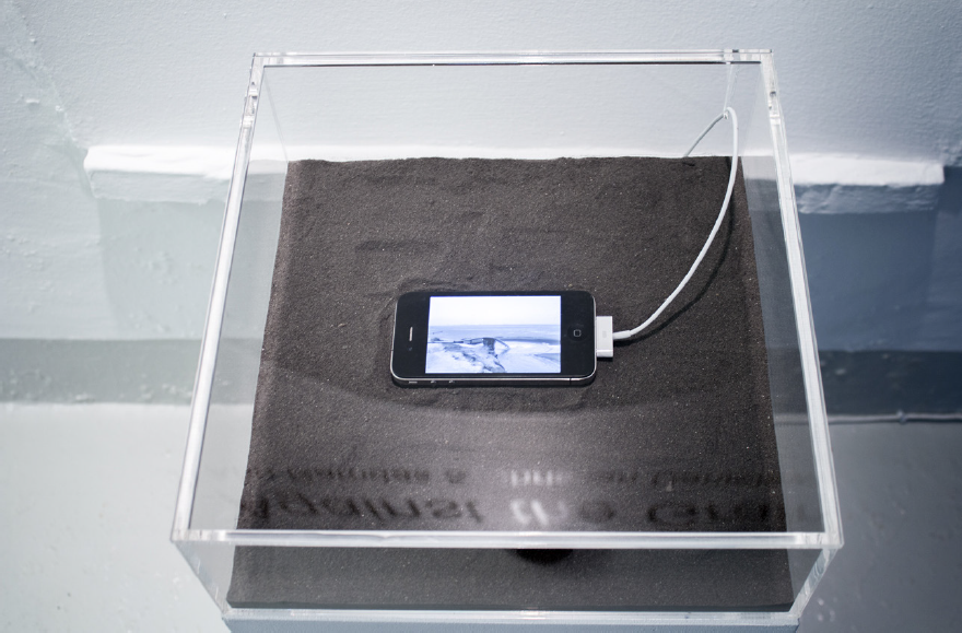 Black Square (Residue). Display case with Thorium dust and iPhone 4